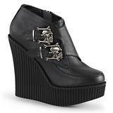 Musta Keinonahka CREEPER-306 creepers kengät kiilakorot
