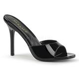 Musta Kiiltonahka 10 cm CLASSIQUE-01 suuret koot puukengät naisten