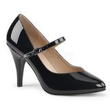 Musta Kiiltonahka 10 cm DREAM-428 suuret koot avokkaat kengät