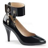Musta Kiiltonahka 10 cm DREAM-432 suuret koot avokkaat kengät