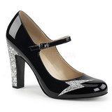 Musta Kiiltonahka 10 cm QUEEN-02 suuret koot avokkaat kengät