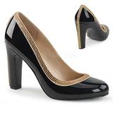 Musta Kiiltonahka 10 cm QUEEN-04 suuret koot avokkaat kengät
