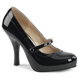 Musta Kiiltonahka 11,5 cm PINUP-01 suuret koot avokkaat kengät