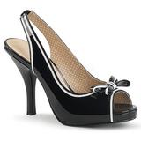 Musta Kiiltonahka 11,5 cm PINUP-10 suuret koot sandaalit naisten