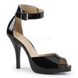 Musta Kiiltonahka 12,5 cm EVE-02 suuret koot sandaalit naisten