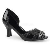 Musta Kiiltonahka 7,5 cm JENNA-03 suuret koot avokkaat kengät