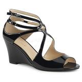 Musta Kiiltonahka 7,5 cm KIMBERLY-04 suuret koot sandaalit naisten
