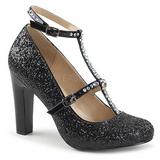 Musta Kimalle 10 cm QUEEN-01 suuret koot avokkaat kengät