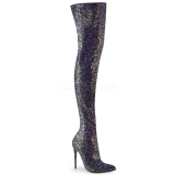Musta Kimalle 13 cm COURTLY-3015 Pleaser Ylipolvensaappaat