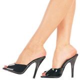 Musta Lakatut 13 cm Pleaser SEDUCE-101 Korkeakorkoiset Muulit Kengät