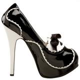 Musta Lakka 14,5 cm Burlesque BORDELLO TEEZE-01 Platform Avokkaat Kengät