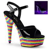 Musta Lakka 15 cm DELIGHT-609RBS Sandaalit Neon Platform