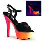 Musta Lakka 15 cm RAINBOW-209UV Sandaalit Neon Platform