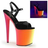Musta Lakka 20 cm RAINBOW-809UV Sandaalit Neon Platform