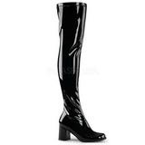 Musta Lakka 8 cm GOGO-3000 naisten ylipolvensaappaat pikku korkoa
