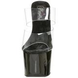 Musta Läpinäkyvä 18 cm SKY-302 Plateau Korkeakorkoiset Muulit Kengät