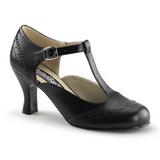Musta Matta 7,5 cm retro vintage FLAPPER-26 Naisten kengät avokkaat