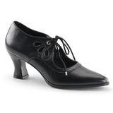 Musta Matta 7 cm retro vintage VICTORIAN-03 Naisten kengät avokkaat