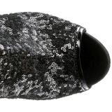 Musta Paljetit 15 cm PLEASER BLONDIE-R-3011 Pitkät Saappaat Platform