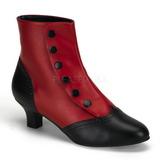 Musta Punainen 5 cm FLORA-1023 Naisten Nilkkasaappaat