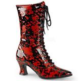 Musta Punainen 7 cm VICTORIAN-120BL Naisten Nauhalliset Nilkkurit