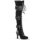 Musta Sametti 9,5 cm GLAM-300 overknee pitkät saappaat