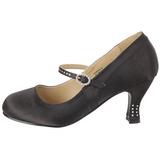 Musta Satiini 8 cm FLAPPER-20 Naisten kengät avokkaat