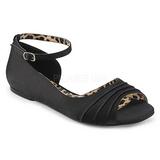 Musta Satiini ANNA-03 suuret koot ballerinat kengät