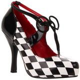 Musta Valkoinen 10,5 cm HARLEQUIN-03 naisten kengät korkeat korko