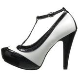 Musta Valkoinen 11,5 cm retro vintage BETTIE-22 naisten kengät korkeat korko