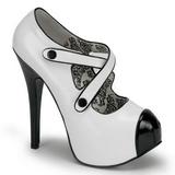 Musta Valkoinen 14,5 cm Burlesque TEEZE-23 naisten kengät korkeat korko