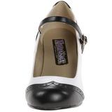 Musta Valkoinen 7,5 cm retro vintage FLAPPER-25 Naisten kengät avokkaat