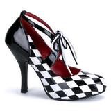 Musta Valkoiset 10,5 cm HARLEQUIN-03 naisten kengät korkeat korko
