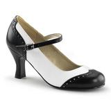 Musta Valkoiset 7,5 cm retro vintage FLAPPER-25 Naisten kengät avokkaat