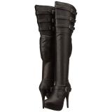 Musta keinonahka 13 cm CHLOE-308 leveyttä vasikat pitkävartiset saappaat
