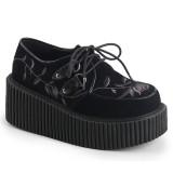 Mustat 7,5 cm CREEPER-219 rockabilly creepers kengät naisten platform