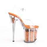 Oranssi 20 cm FLAMINGO-808GF kimallus platform korkokengät naisten