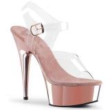 Pinkit 15 cm Pleaser DELIGHT-608 Korkosandaalit Kromi Platform