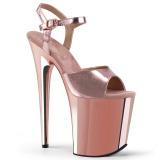 Pinkit 20 cm Pleaser FLAMINGO-809 Kromi Platform Korkosandaalit