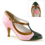 Pinkit 8 cm retro vintage PEACH-03 Pinup avokkaat kengät alhainen korot