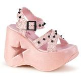 Pinkki 13 cm Demonia DYNAMITE-02 lolita sandaalit kiilakorkosandaalit