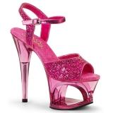 Pinkki 18 cm MOON-710GT kimallus platform korkokengät naisten