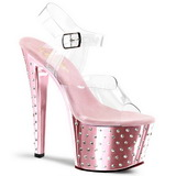 Pinkki 18 cm Pleaser STARDUST-708 Korkosandaalit Kromi Platform