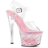 Pinkki 18 cm SKY-308WHG kimallus platform korkokengät naisten