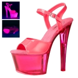 Pinkki 18 cm SKY-309UVT Neon Platform Korkeakorkoiset Sandaalit