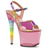 Pinkki 18 cm UNICORN-711T Akryyli platform korkokengät naisten