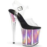 Pinkki 20 cm FLAMINGO-808HGI Hologrammi platform korkokengät naisten