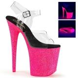 Pinkki 20 cm FLAMINGO-808UVG Neon Platform Korkeakorkoiset Sandaalit