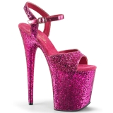 Pinkki 20 cm FLAMINGO-810LG kimallus platform korkokengät naisten