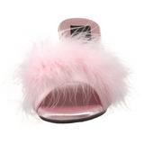 Pinkki 8 cm BELLE-301F Marabou Höyhenet Puu Kengät